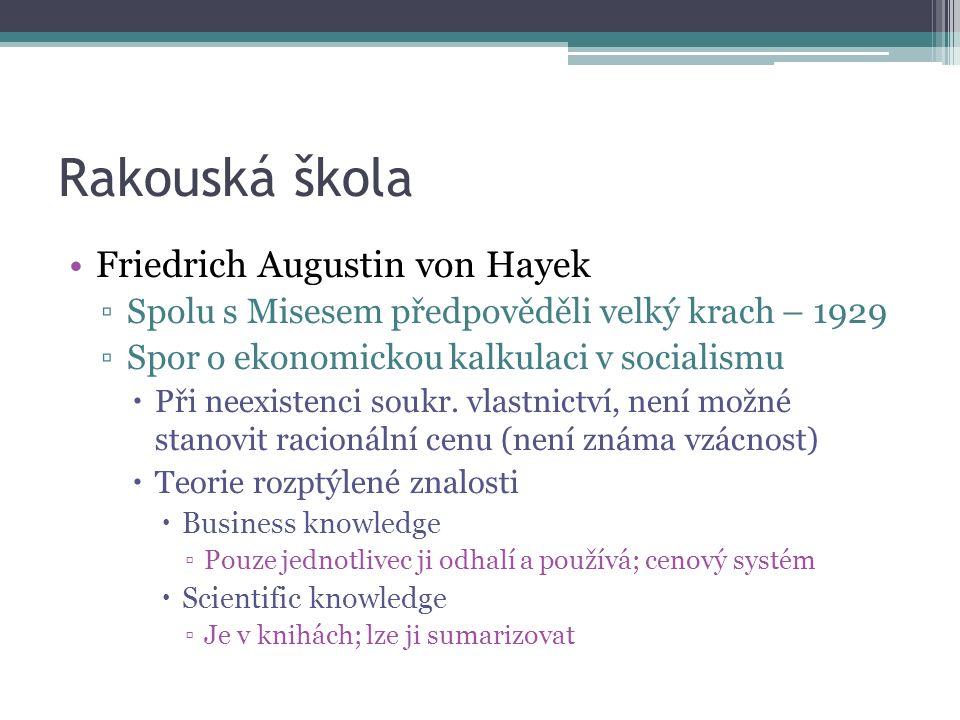 Rakouská škola Friedrich Augustin von Hayek ▫Spolu s Misesem předpověděli velký krach – 1929 ▫Spor o ekonomickou kalkulaci v socialismu  Při neexistenci soukr.