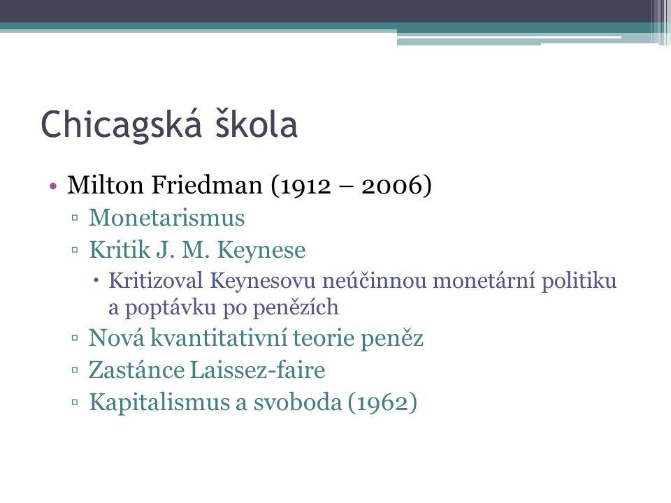Chicagská škola Milton Friedman (1912 – 2006) ▫Monetarismus ▫Kritik J.