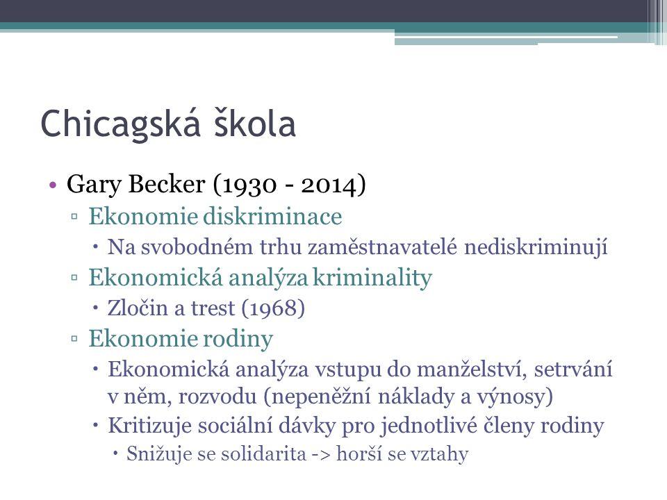 Chicagská škola Gary Becker (1930 - 2014) ▫Ekonomie diskriminace  Na svobodném trhu zaměstnavatelé nediskriminují ▫Ekonomická analýza kriminality  Zločin a trest (1968) ▫Ekonomie rodiny  Ekonomická analýza vstupu do manželství, setrvání v něm, rozvodu (nepeněžní náklady a výnosy)  Kritizuje sociální dávky pro jednotlivé členy rodiny  Snižuje se solidarita -> horší se vztahy