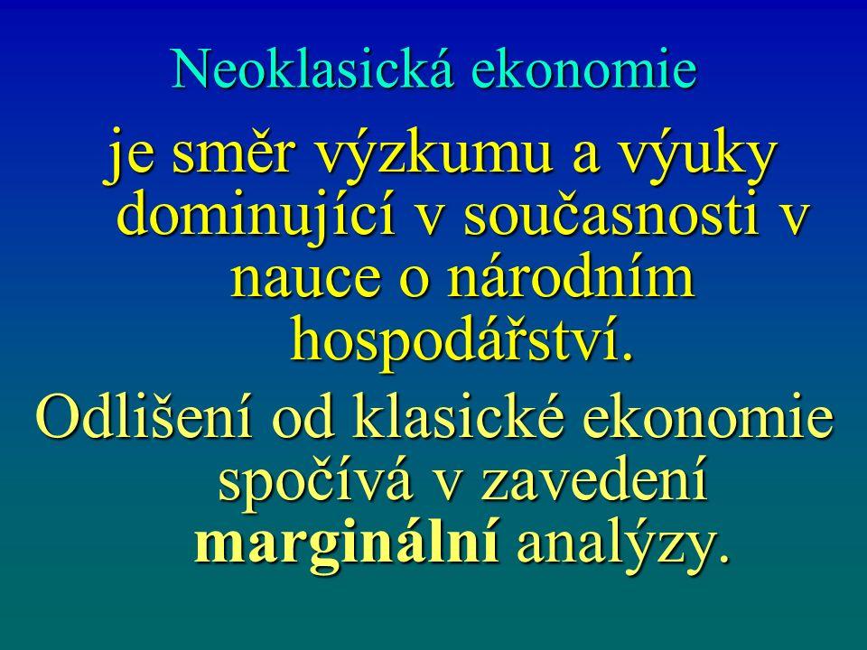 Neoklasická ekonomie je směr výzkumu a výuky dominující v současnosti v nauce o národním hospodářství. je směr výzkumu a výuky dominující v současnost
