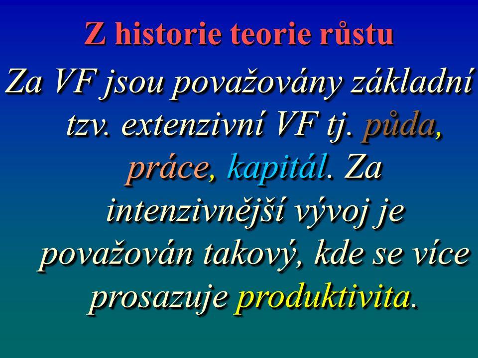 Z historie teorie růstu Za VF jsou považovány základní tzv. extenzivní VF tj. půda, práce, kapitál. Za intenzivnější vývoj je považován takový, kde se