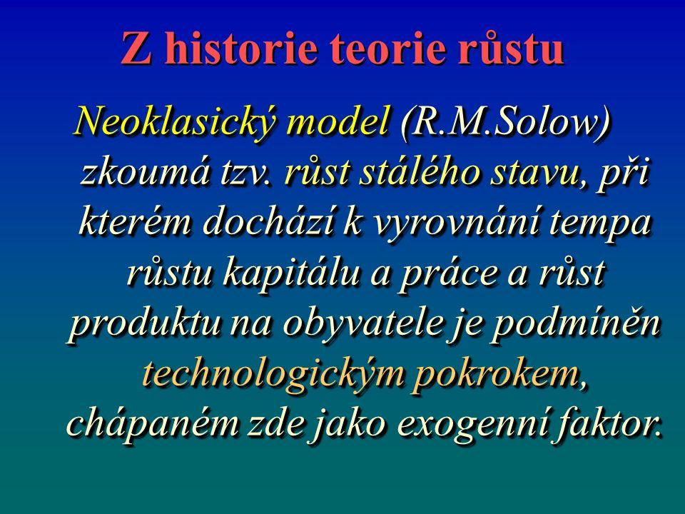 Z historie teorie růstu Neoklasický model (R.M.Solow) zkoumá tzv. růst stálého stavu, při kterém dochází k vyrovnání tempa růstu kapitálu a práce a rů