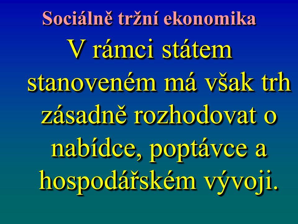 Sociálně tržní ekonomika V rámci státem stanoveném má však trh zásadně rozhodovat o nabídce, poptávce a hospodářském vývoji.