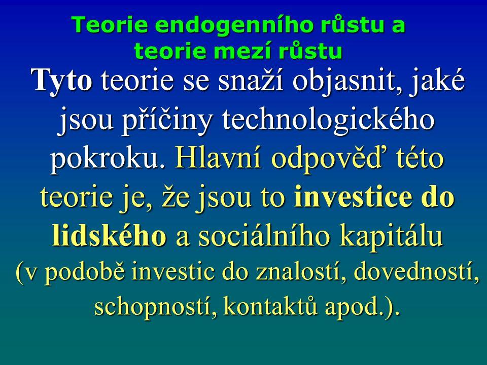 Teorie endogenního růstu a teorie mezí růstu Teorie endogenního růstu a teorie mezí růstu Tyto teorie se snaží objasnit, jaké jsou příčiny technologického pokroku.
