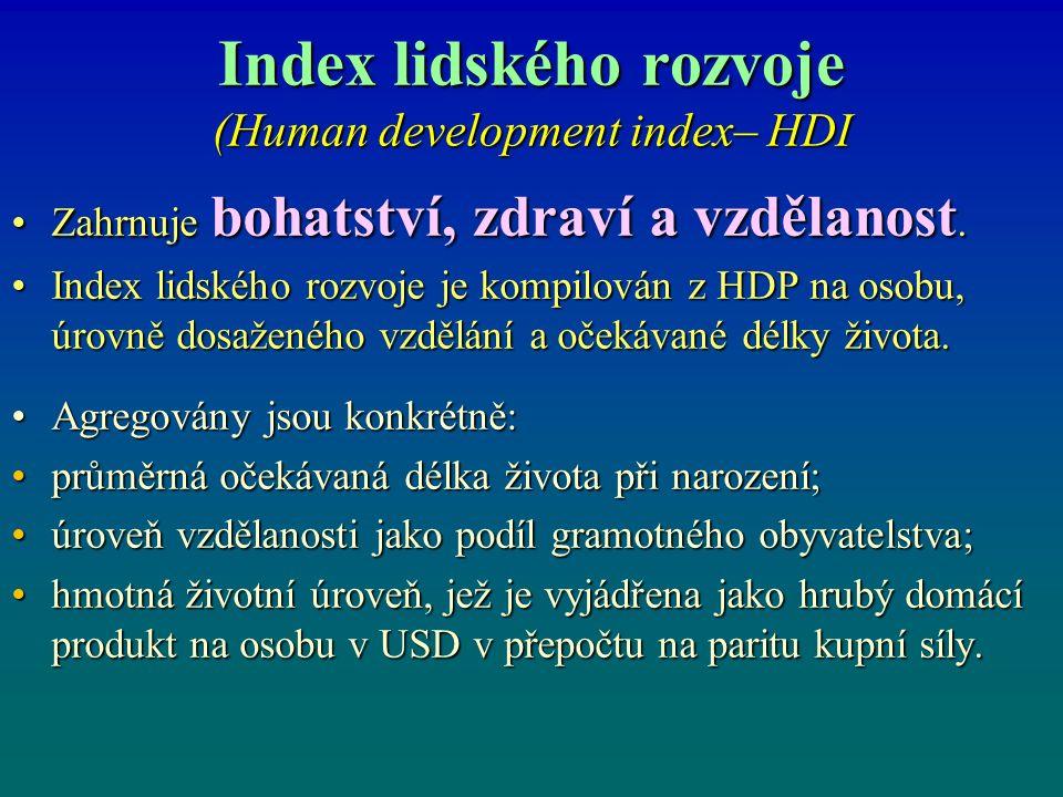 Index lidského rozvoje (Human development index– HDI Zahrnuje bohatství, zdraví a vzdělanost.Zahrnuje bohatství, zdraví a vzdělanost. Index lidského r