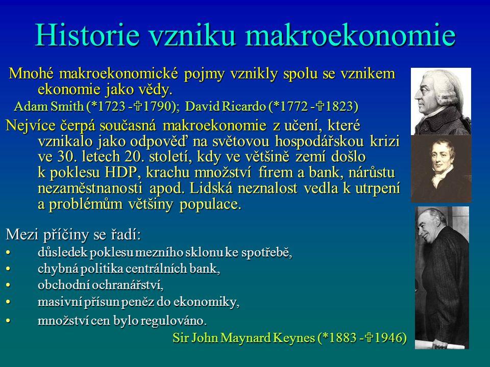 Historie vzniku makroekonomie Mnohé makroekonomické pojmy vznikly spolu se vznikem ekonomie jako vědy. Mnohé makroekonomické pojmy vznikly spolu se vz