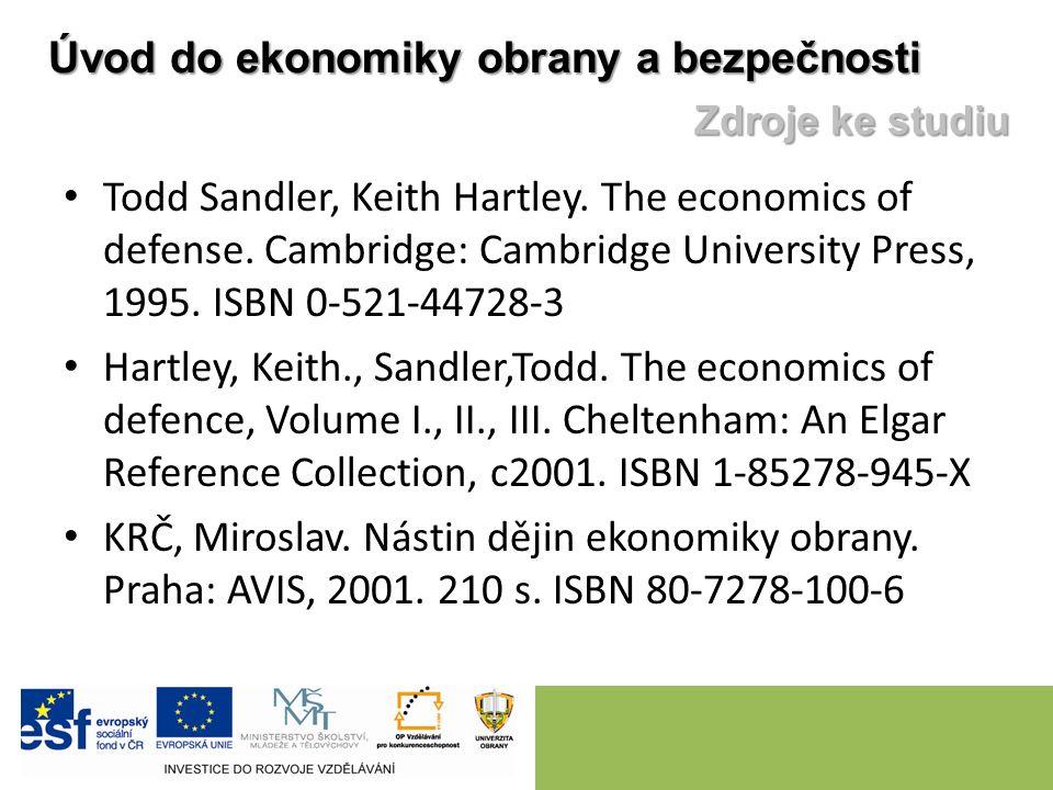 Todd Sandler, Keith Hartley. The economics of defense. Cambridge: Cambridge University Press, 1995. ISBN 0-521-44728-3 Hartley, Keith., Sandler,Todd.