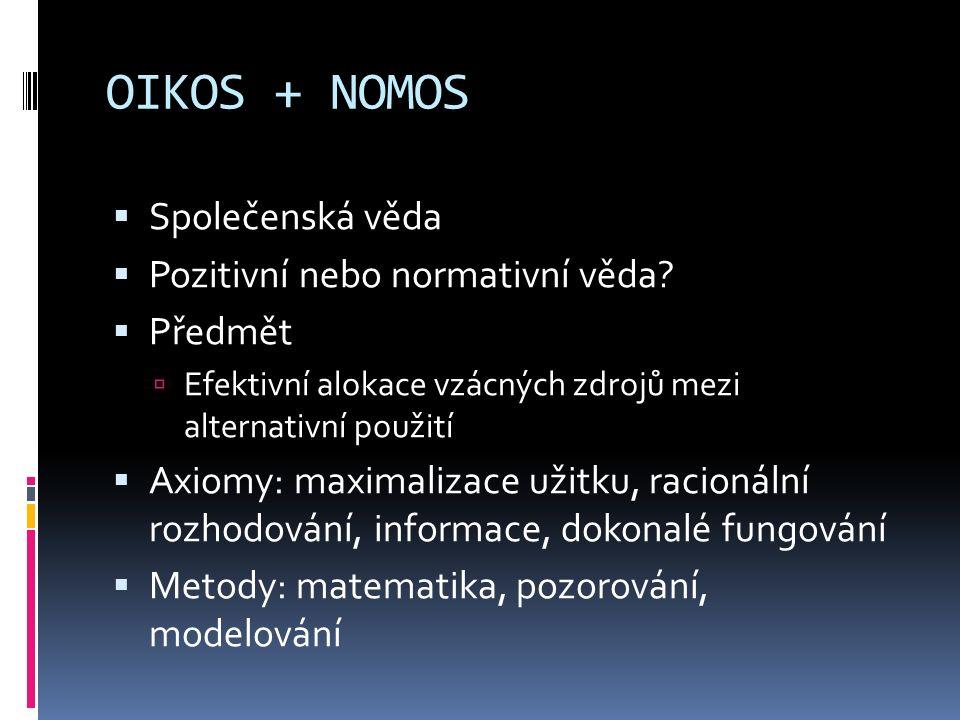 OIKOS + NOMOS  Společenská věda  Pozitivní nebo normativní věda.