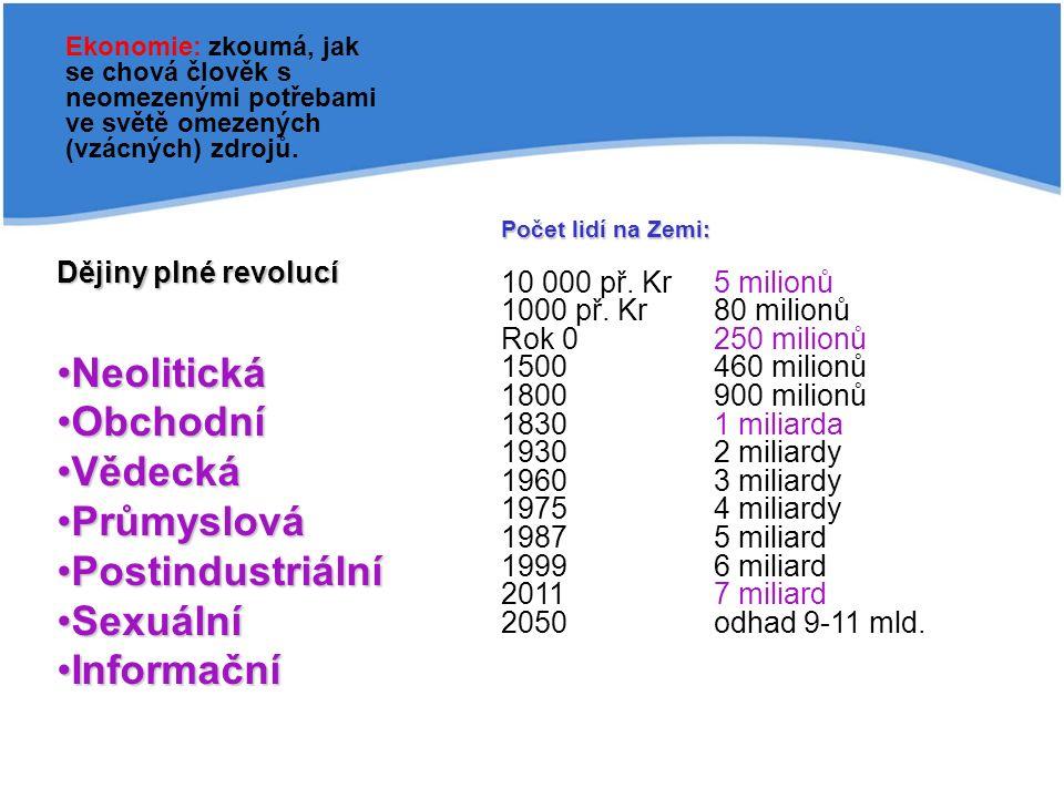 Dějiny plné revolucí NeolitickáNeolitická ObchodníObchodní VědeckáVědecká PrůmyslováPrůmyslová PostindustriálníPostindustriální SexuálníSexuální InformačníInformační Ekonomie: zkoumá, jak se chová člověk s neomezenými potřebami ve světě omezených (vzácných) zdrojů.