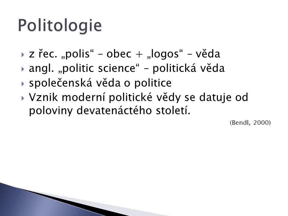 """ z řec.""""polis – obec + """"logos – věda  angl."""