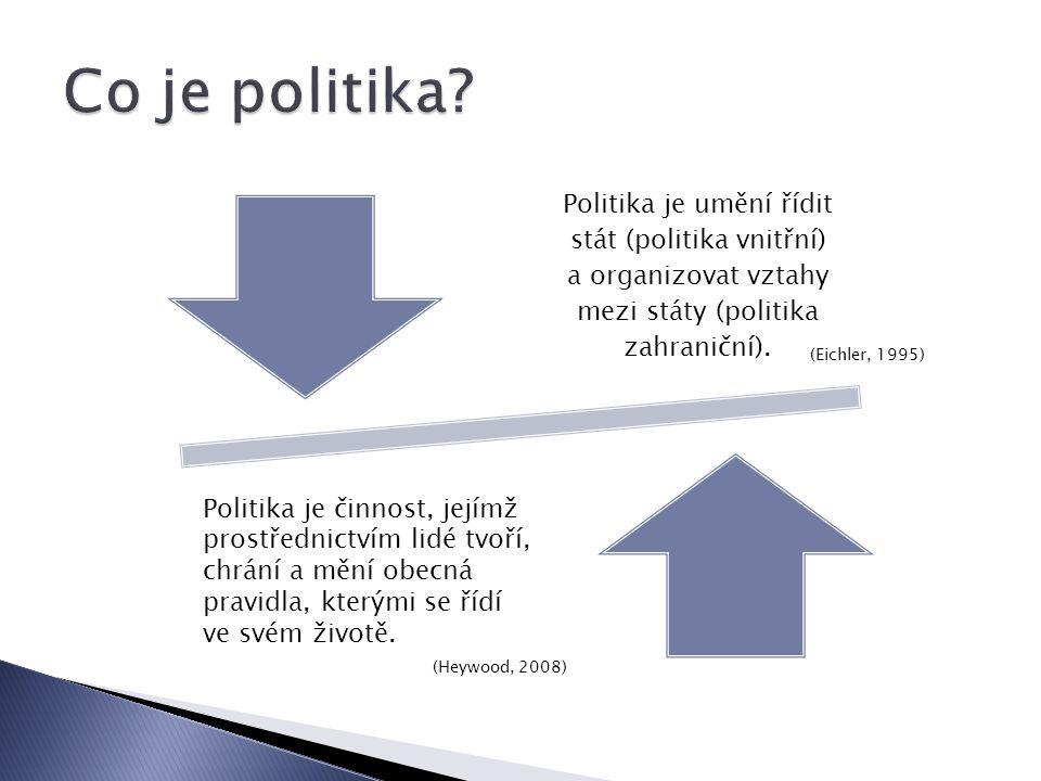 Politika je umění řídit stát (politika vnitřní) a organizovat vztahy mezi státy (politika zahraniční).