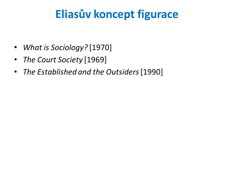 Eliasův koncept figurace What is Sociology.