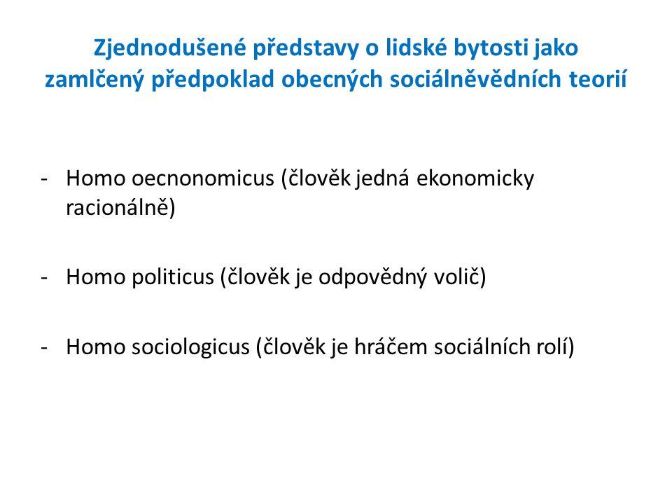Zjednodušené představy o lidské bytosti jako zamlčený předpoklad obecných sociálněvědních teorií -Homo oecnonomicus (člověk jedná ekonomicky racionáln