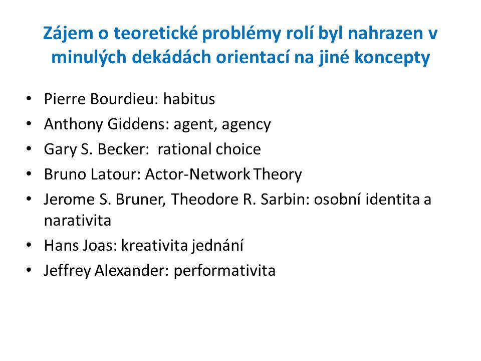 Zájem o teoretické problémy rolí byl nahrazen v minulých dekádách orientací na jiné koncepty Pierre Bourdieu: habitus Anthony Giddens: agent, agency G