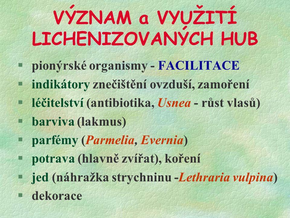 VÝZNAM a VYUŽITÍ LICHENIZOVANÝCH HUB § pionýrské organismy - FACILITACE § indikátory znečištění ovzduší, zamoření § léčitelství (antibiotika, Usnea - růst vlasů) § barviva (lakmus) § parfémy (Parmelia, Evernia) § potrava (hlavně zvířat), koření § jed (náhražka strychninu -Lethraria vulpina) § dekorace