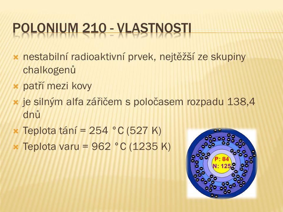  nestabilní radioaktivní prvek, nejtěžší ze skupiny chalkogenů  patří mezi kovy  je silným alfa zářičem s poločasem rozpadu 138,4 dnů  Teplota tání = 254 °C (527 K)  Teplota varu = 962 °C (1235 K)
