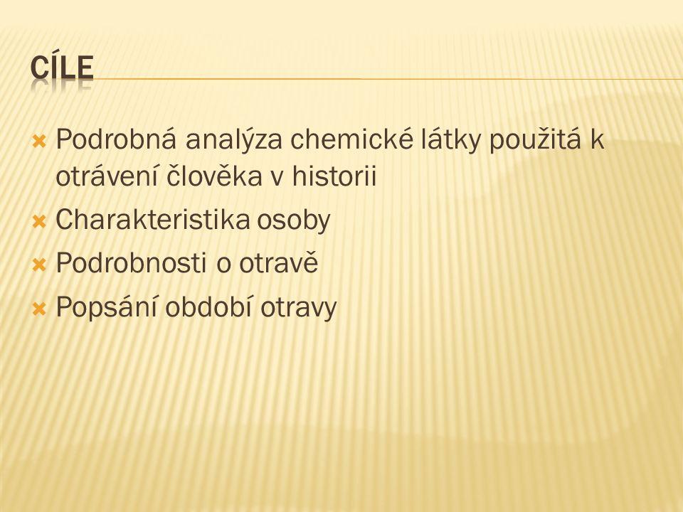  Podrobná analýza chemické látky použitá k otrávení člověka v historii  Charakteristika osoby  Podrobnosti o otravě  Popsání období otravy