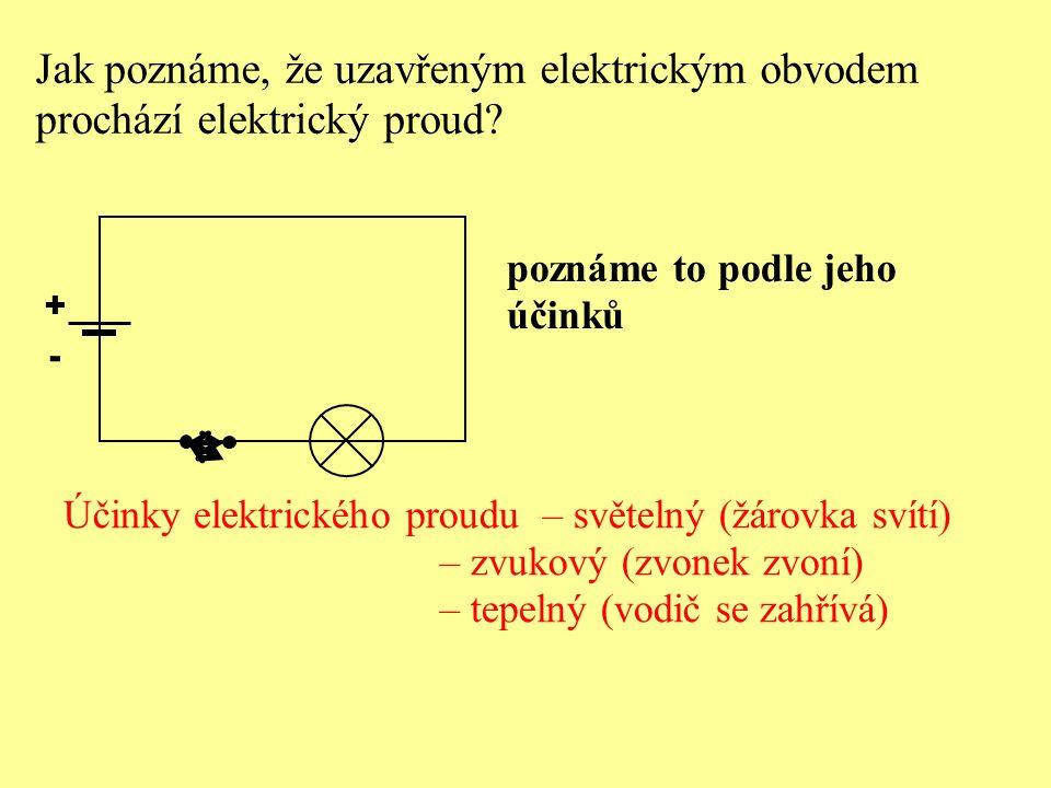 Jak poznáme, že uzavřeným elektrickým obvodem prochází elektrický proud? + - poznáme to podle jeho účinků Účinky elektrického proudu – světelný (žárov