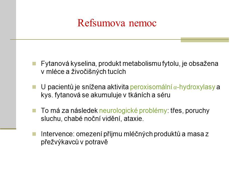 Refsumova nemoc Fytanová kyselina, produkt metabolismu fytolu, je obsažena v mléce a živočišných tucích U pacientů je snížena aktivita peroxisomální α -hydroxylasy a kys.