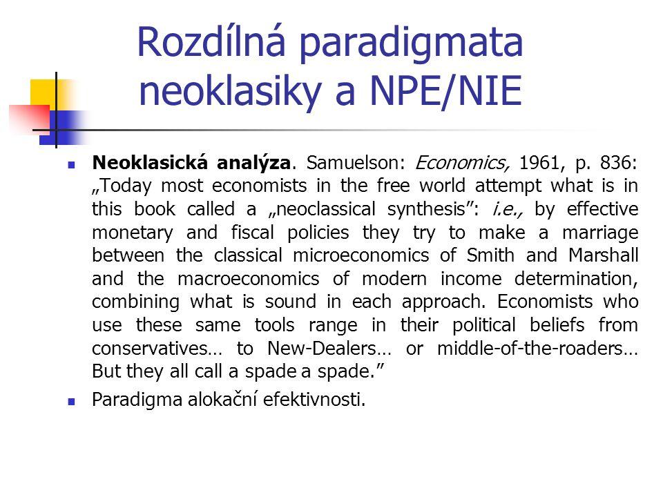 Rozdílná paradigmata neoklasiky a NPE/NIE Neoklasická analýza.