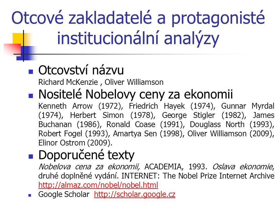 Otcové zakladatelé a protagonisté institucionální analýzy Otcovství názvu Richard McKenzie, Oliver Williamson Nositelé Nobelovy ceny za ekonomii Kenne
