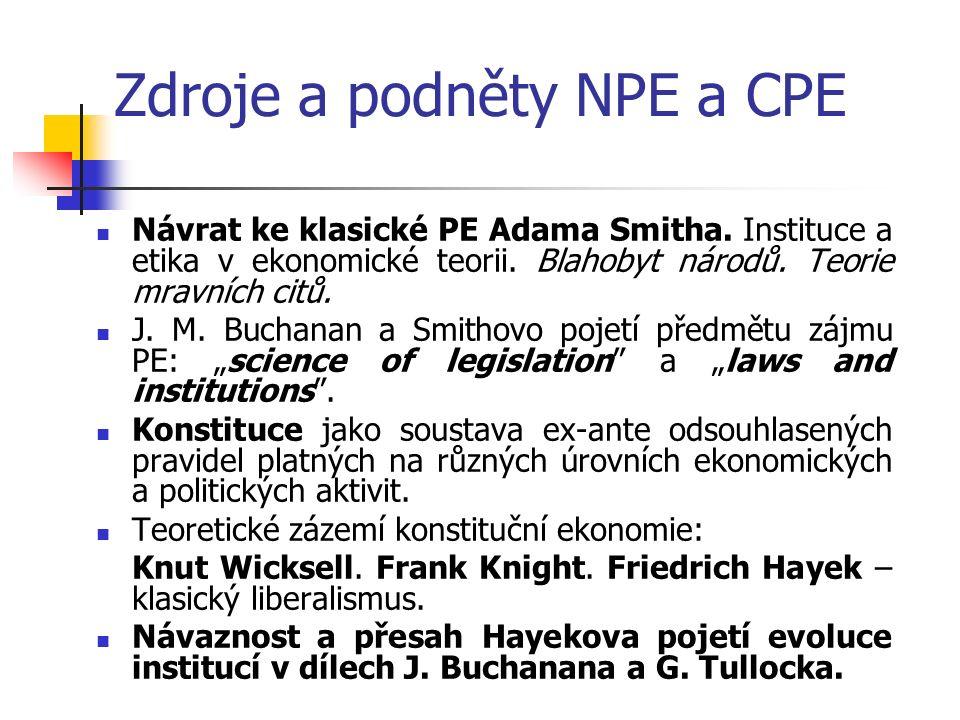 Zdroje a podněty NPE a CPE Návrat ke klasické PE Adama Smitha.