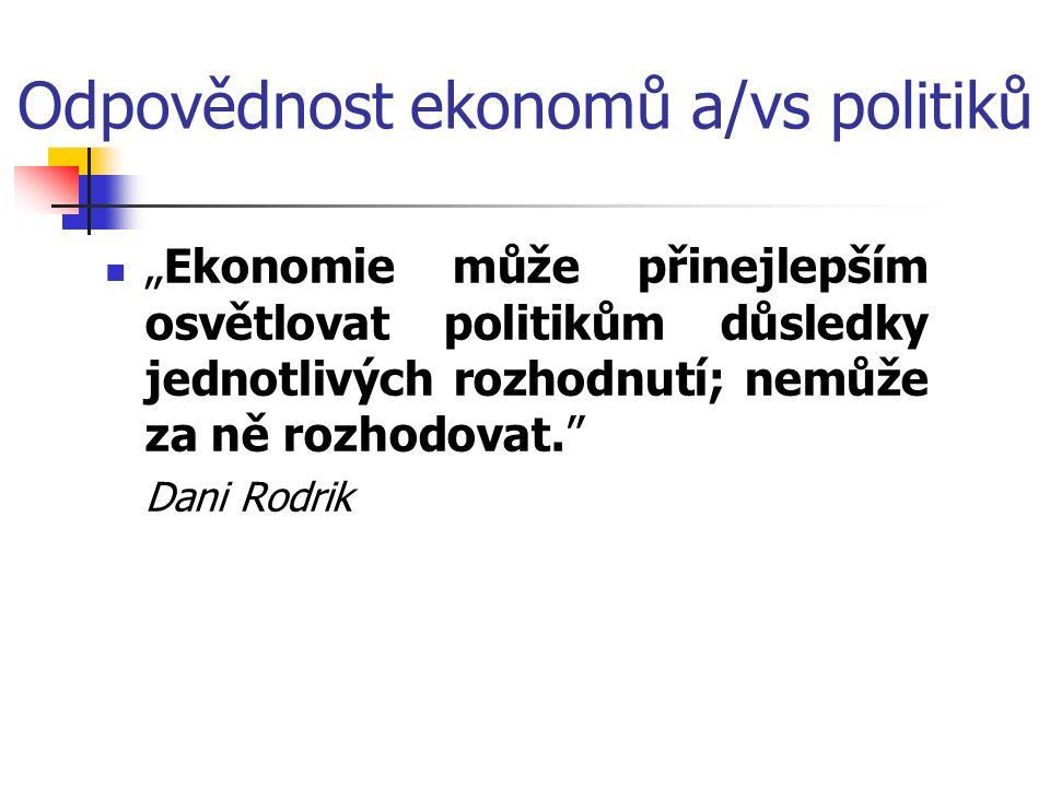 """Odpovědnost ekonomů a/vs politiků """"Ekonomie může přinejlepším osvětlovat politikům důsledky jednotlivých rozhodnutí; nemůže za ně rozhodovat. Dani Rodrik"""
