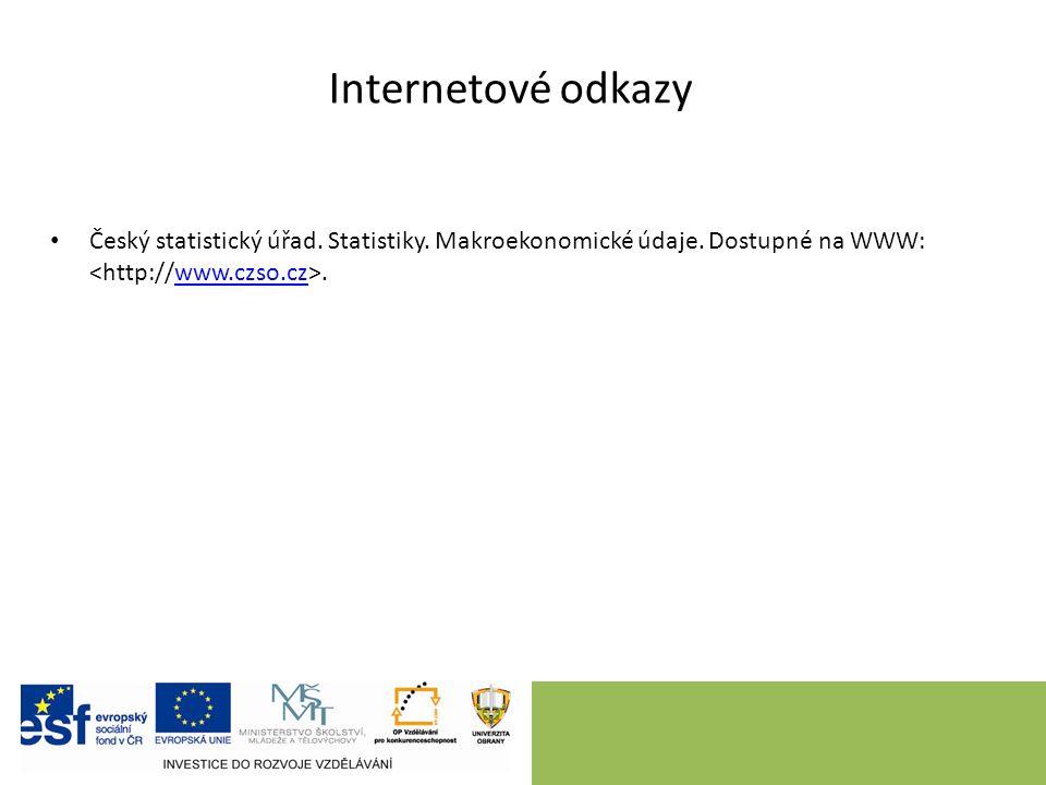 Internetové odkazy Český statistický úřad. Statistiky.