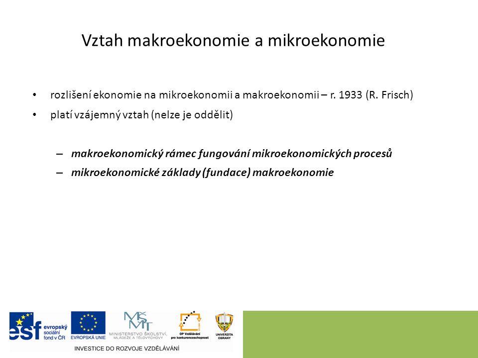 Vztah makroekonomie a mikroekonomie rozlišení ekonomie na mikroekonomii a makroekonomii – r.