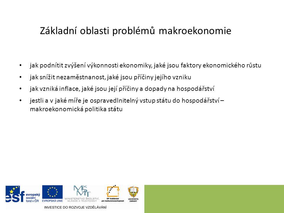 Základní makroekonomické veličiny produkt (výkon, výstup, output) – značení: Y, Q, HDP zaměstnanost, resp.