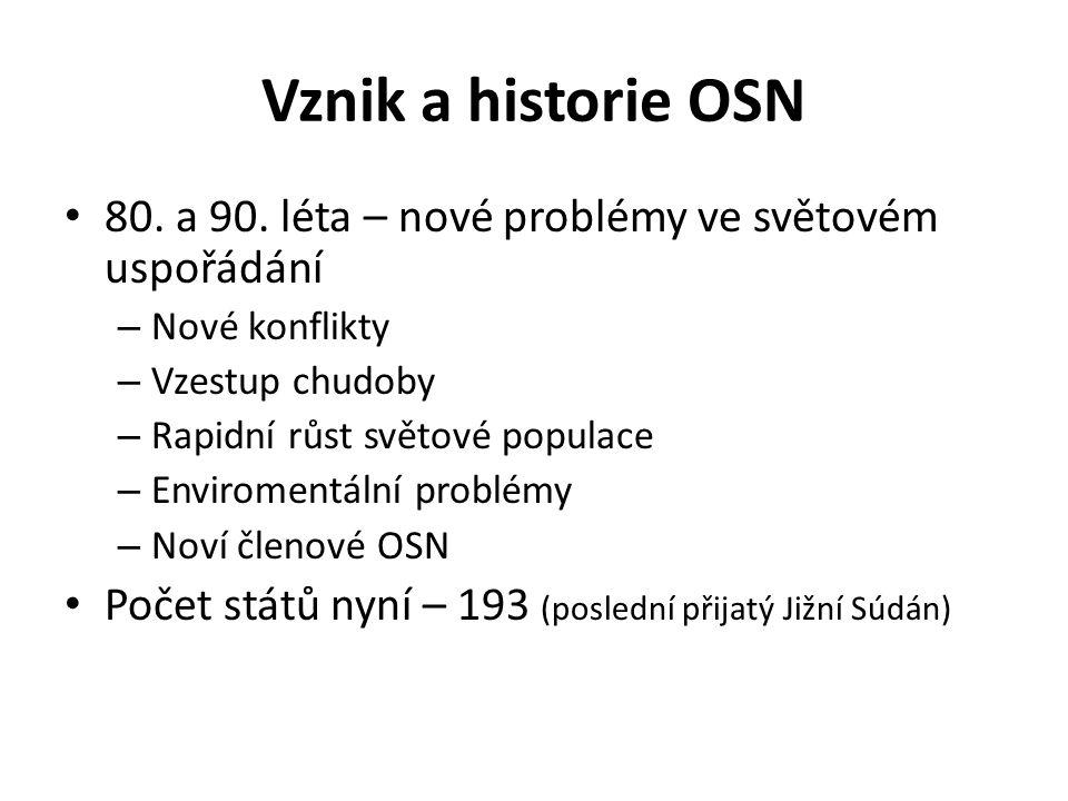 Vznik a historie OSN 80. a 90.