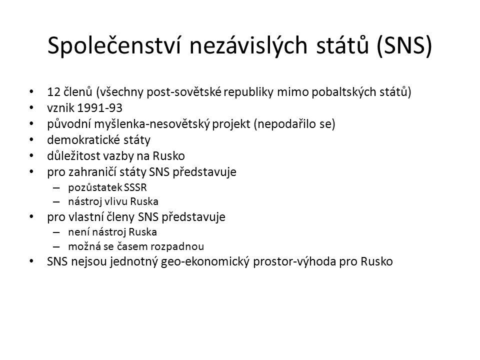 Společenství nezávislých států (SNS) 12 členů (všechny post-sovětské republiky mimo pobaltských států) vznik 1991-93 původní myšlenka-nesovětský projekt (nepodařilo se) demokratické státy důležitost vazby na Rusko pro zahraničí státy SNS představuje – pozůstatek SSSR – nástroj vlivu Ruska pro vlastní členy SNS představuje – není nástroj Ruska – možná se časem rozpadnou SNS nejsou jednotný geo-ekonomický prostor-výhoda pro Rusko