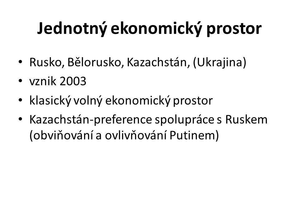 Jednotný ekonomický prostor Rusko, Bělorusko, Kazachstán, (Ukrajina) vznik 2003 klasický volný ekonomický prostor Kazachstán-preference spolupráce s Ruskem (obviňování a ovlivňování Putinem)