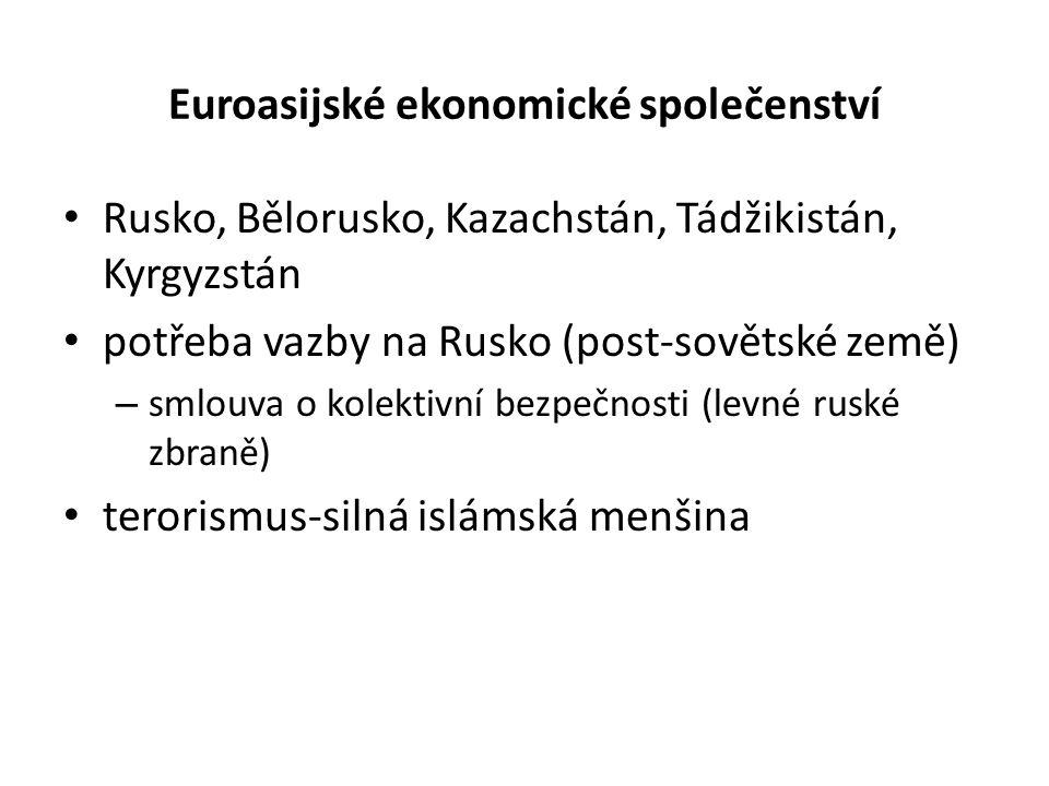 Euroasijské ekonomické společenství Rusko, Bělorusko, Kazachstán, Tádžikistán, Kyrgyzstán potřeba vazby na Rusko (post-sovětské země) – smlouva o kolektivní bezpečnosti (levné ruské zbraně) terorismus-silná islámská menšina