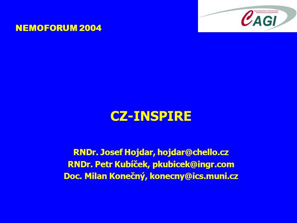 NEMOFORUM 2004 CZ-INSPIRE RNDr. Josef Hojdar, hojdar@chello.cz RNDr.