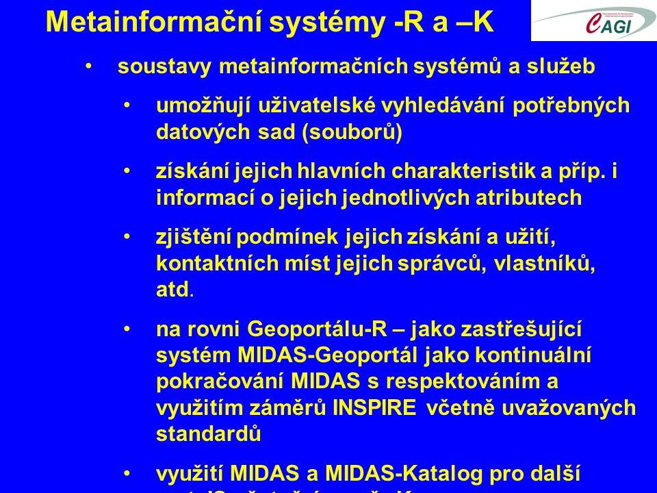 Metainformační systémy -R a –K soustavy metainformačních systémů a služeb umožňují uživatelské vyhledávání potřebných datových sad (souborů) získání jejich hlavních charakteristik a příp.