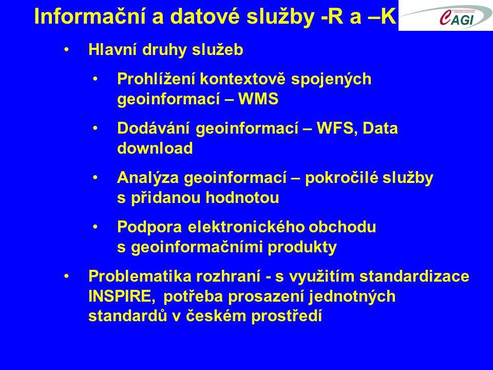 Informační a datové služby -R a –K Hlavní druhy služeb Prohlížení kontextově spojených geoinformací – WMS Dodávání geoinformací – WFS, Data download Analýza geoinformací – pokročilé služby s přidanou hodnotou Podpora elektronického obchodu s geoinformačními produkty Problematika rozhraní - s využitím standardizace INSPIRE, potřeba prosazení jednotných standardů v českém prostředí
