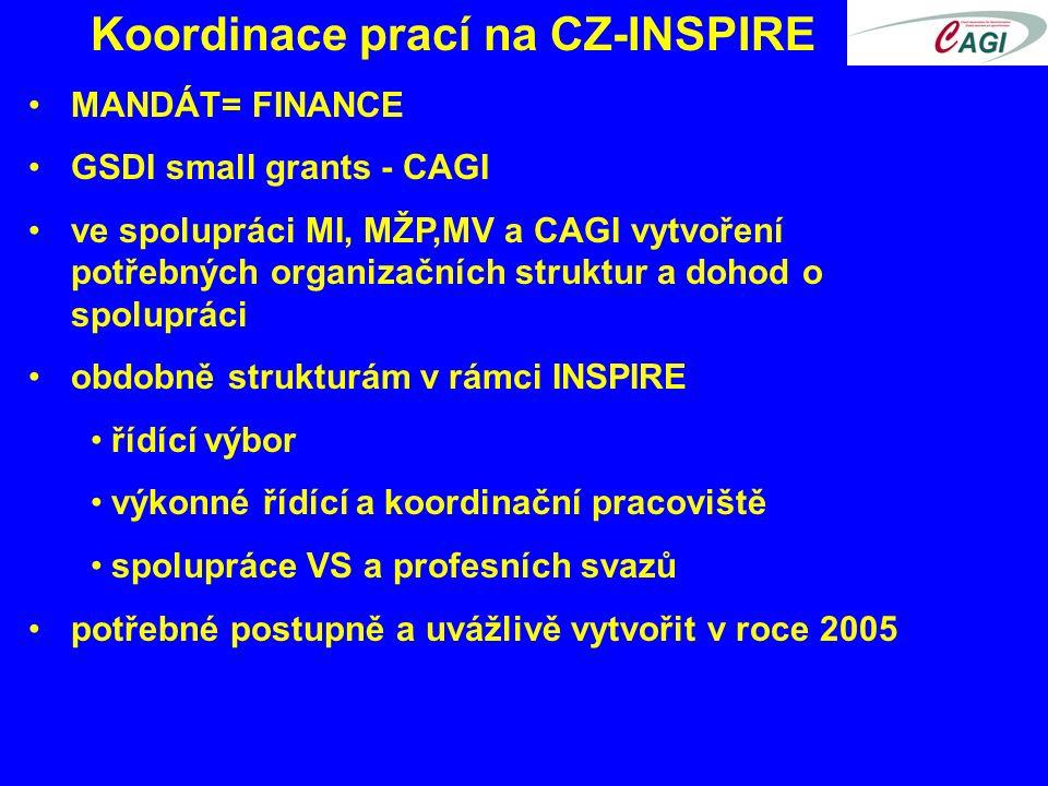 Koordinace prací na CZ-INSPIRE MANDÁT= FINANCE GSDI small grants - CAGI ve spolupráci MI, MŽP,MV a CAGI vytvoření potřebných organizačních struktur a dohod o spolupráci obdobně strukturám v rámci INSPIRE řídící výbor výkonné řídící a koordinační pracoviště spolupráce VS a profesních svazů potřebné postupně a uvážlivě vytvořit v roce 2005