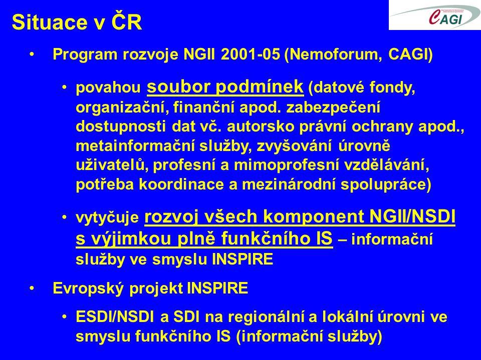 Situace v ČR Program rozvoje NGII 2001-05 (Nemoforum, CAGI) povahou soubor podmínek (datové fondy, organizační, finanční apod.
