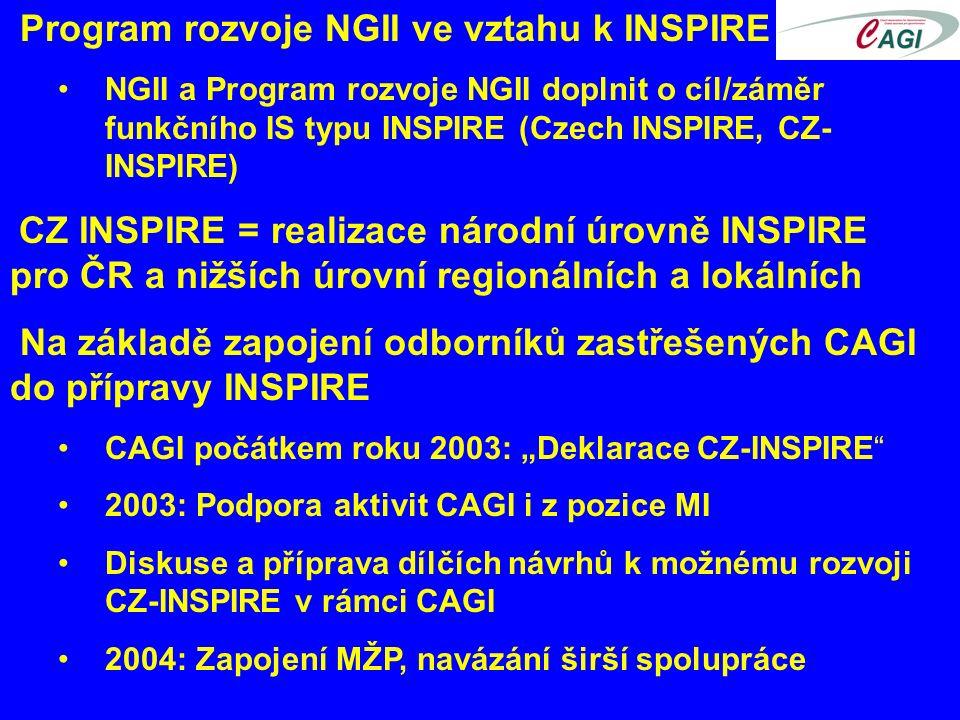 """Program rozvoje NGII ve vztahu k INSPIRE NGII a Program rozvoje NGII doplnit o cíl/záměr funkčního IS typu INSPIRE (Czech INSPIRE, CZ- INSPIRE) CZ INSPIRE = realizace národní úrovně INSPIRE pro ČR a nižších úrovní regionálních a lokálních Na základě zapojení odborníků zastřešených CAGI do přípravy INSPIRE CAGI počátkem roku 2003: """"Deklarace CZ-INSPIRE 2003: Podpora aktivit CAGI i z pozice MI Diskuse a příprava dílčích návrhů k možnému rozvoji CZ-INSPIRE v rámci CAGI 2004: Zapojení MŽP, navázání širší spolupráce"""