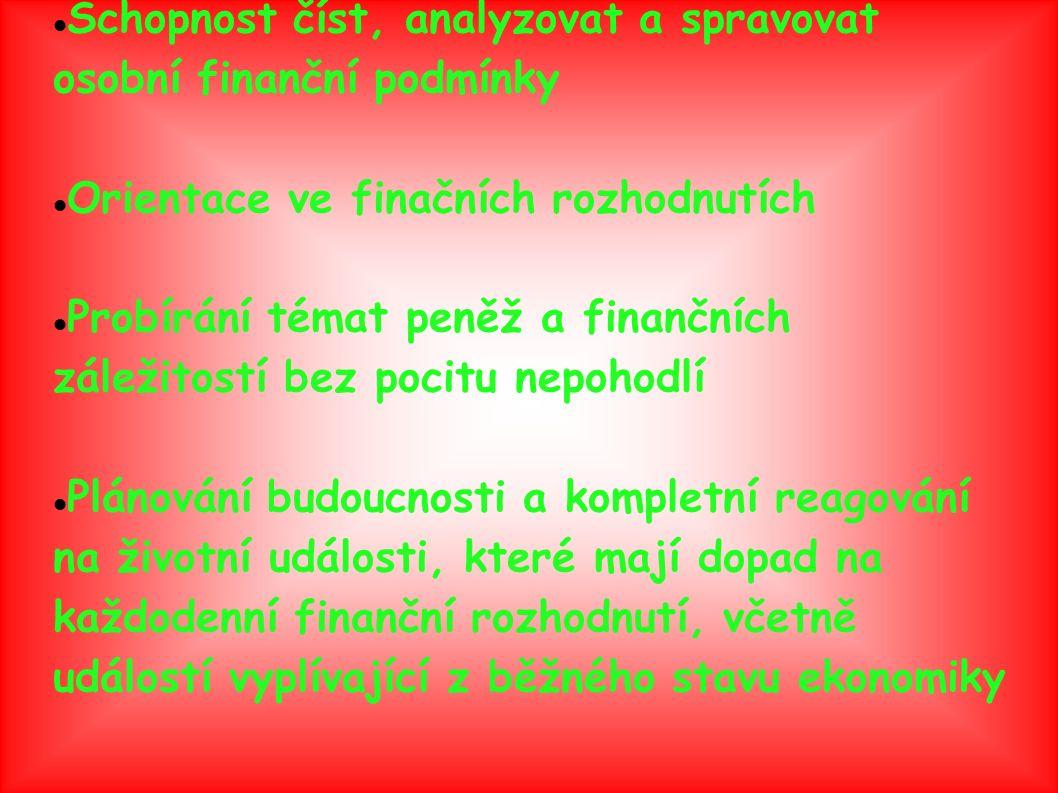 Finanční gramotnost obsahuje: Co jsou peníze a jaká je jejich reálná mzda Co je cashflow a jeho význám Jak získavat peníze: -rozdíl mezi zaměstnáním a podnikáním -co je dluh a úroky Jak si zachovat peníze: -co je inflace a daně Jak utrácet peníze