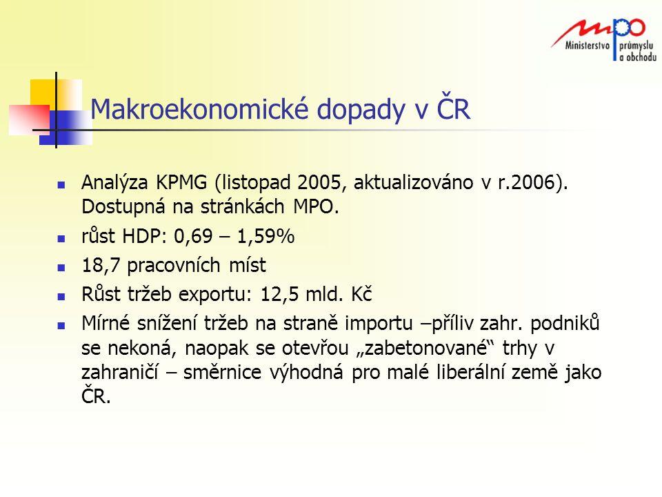 Makroekonomické dopady v ČR Analýza KPMG (listopad 2005, aktualizováno v r.2006).