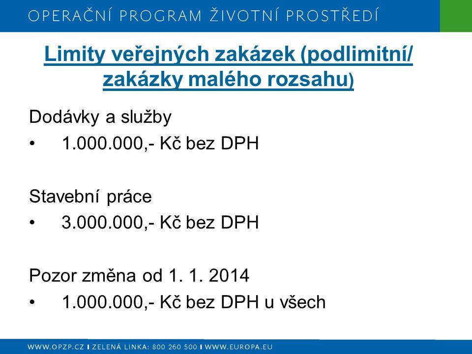 Limity veřejných zakázek (podlimitní/ zakázky malého rozsahu ) Dodávky a služby 1.000.000,- Kč bez DPH Stavební práce 3.000.000,- Kč bez DPH Pozor změna od 1.