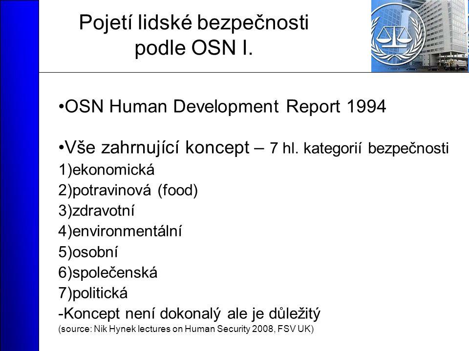 Pojetí lidské bezpečnosti podle OSN I.