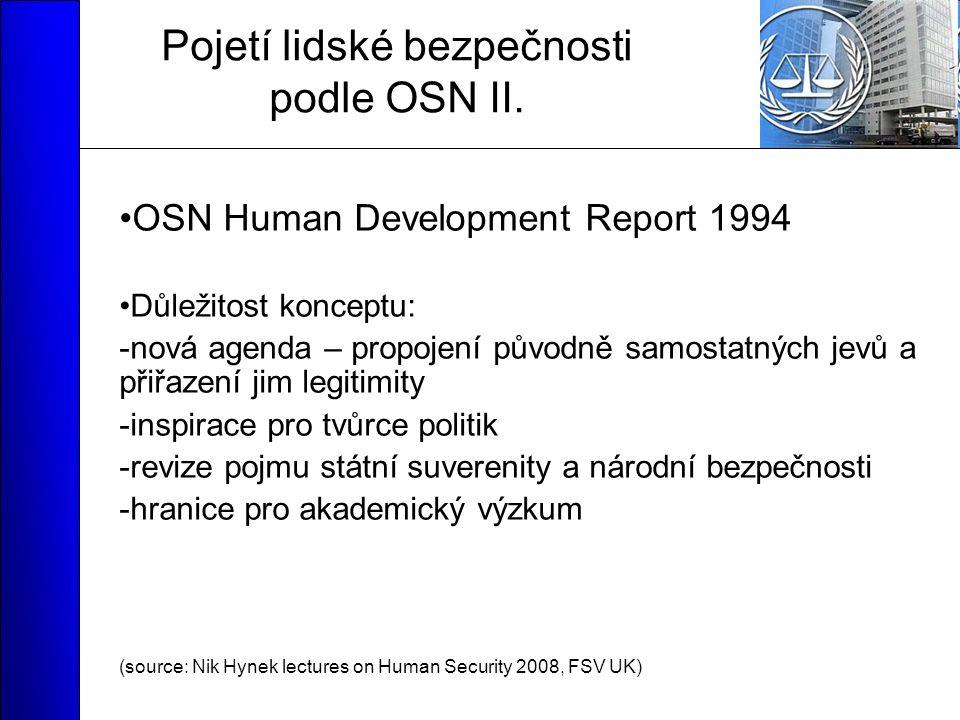 Pojetí lidské bezpečnosti podle OSN II.
