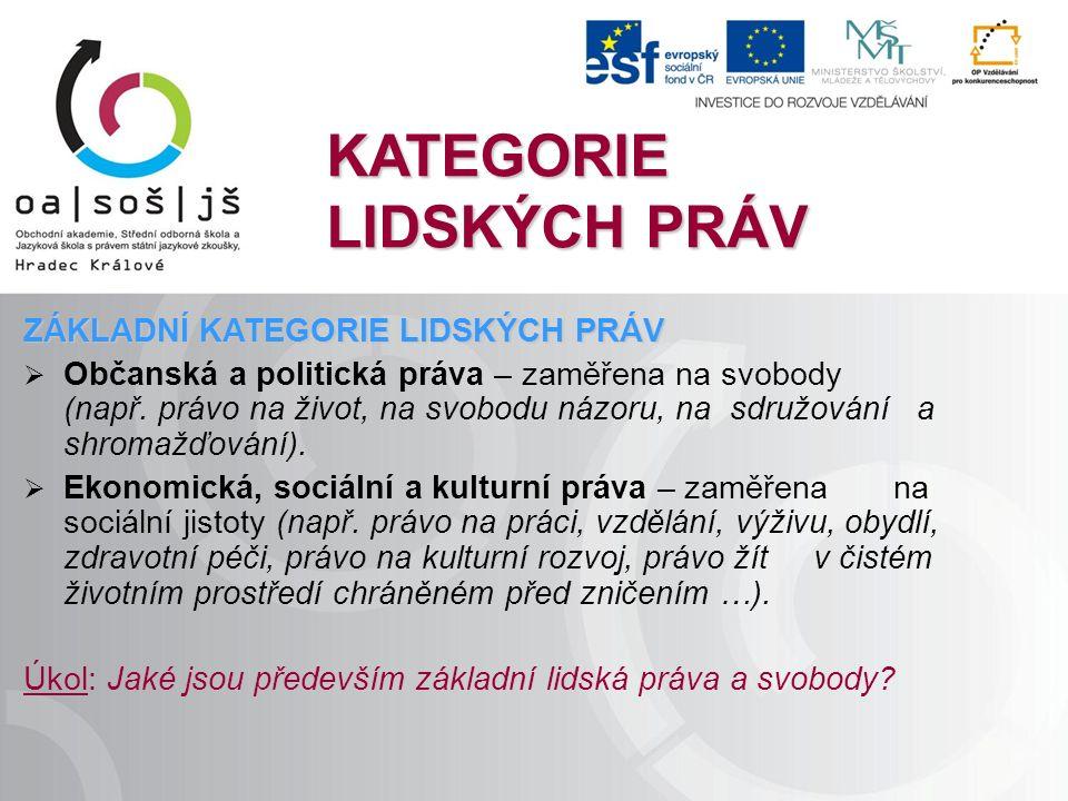 KATEGORIE LIDSKÝCH PRÁV ZÁKLADNÍ KATEGORIE LIDSKÝCH PRÁV  Občanská a politická práva – zaměřena na svobody (např.