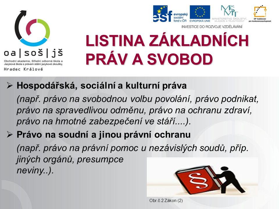 LISTINA ZÁKLADNÍCH PRÁV A SVOBOD  Hospodářská, sociální a kulturní práva (např.