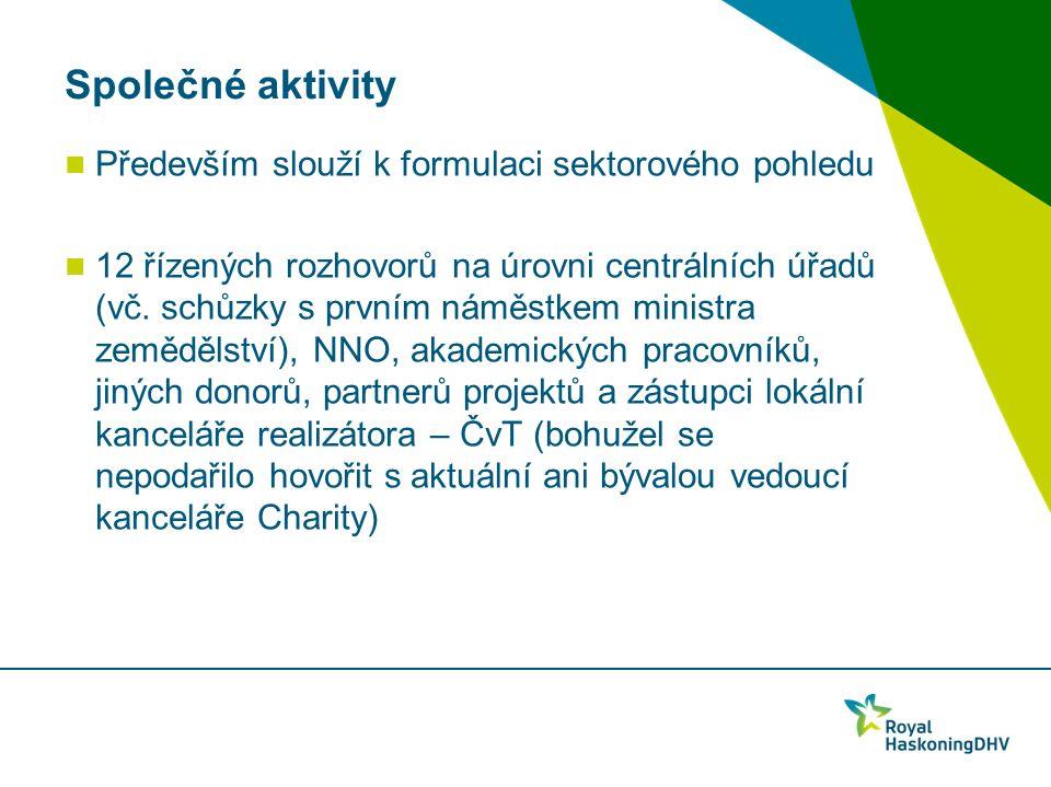 Společné aktivity Především slouží k formulaci sektorového pohledu 12 řízených rozhovorů na úrovni centrálních úřadů (vč.
