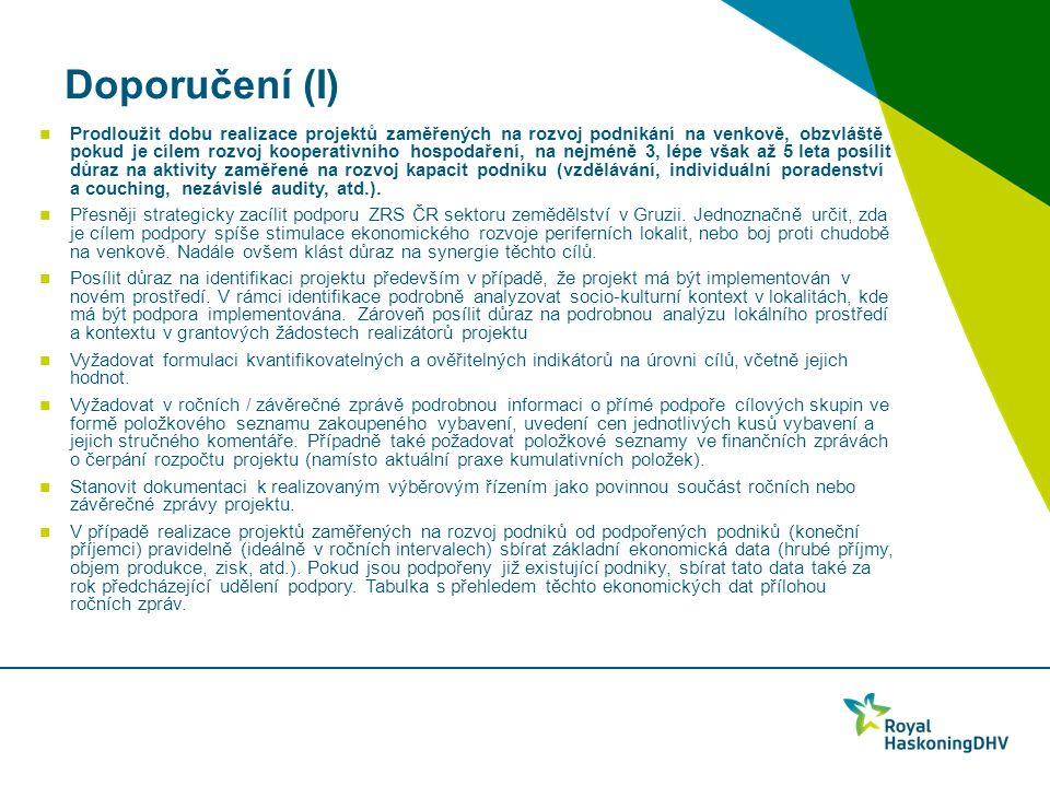Doporučení (I) Prodloužit dobu realizace projektů zaměřených na rozvoj podnikání na venkově, obzvláště pokud je cílem rozvoj kooperativního hospodaření, na nejméně 3, lépe však až 5 leta posílit důraz na aktivity zaměřené na rozvoj kapacit podniku (vzdělávání, individuální poradenství a couching, nezávislé audity, atd.).