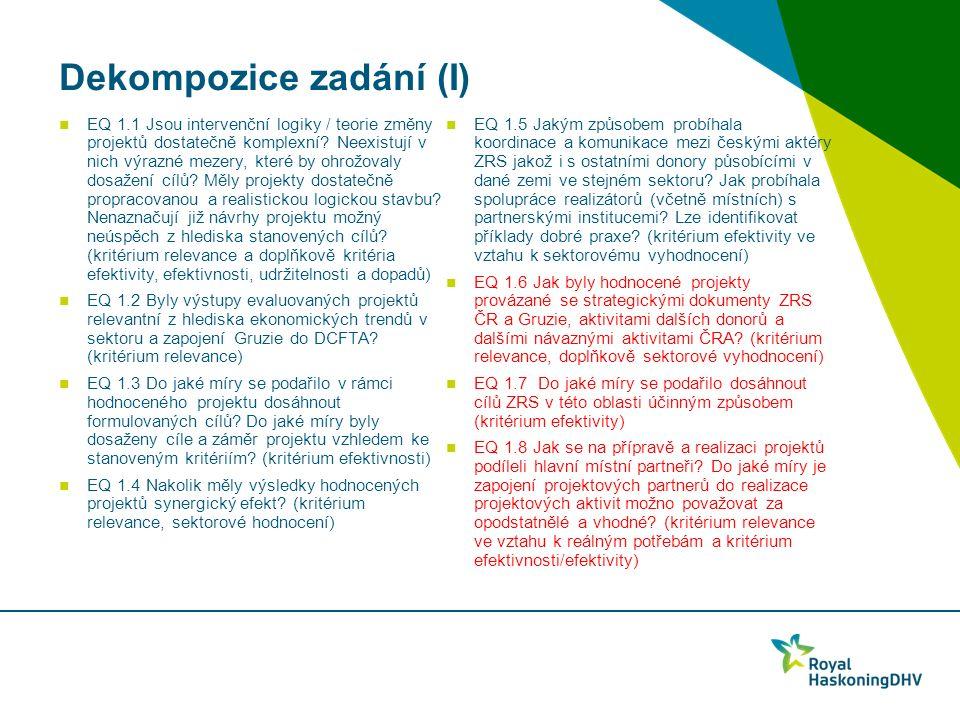 Dekompozice zadání (I) EQ 1.1 Jsou intervenční logiky / teorie změny projektů dostatečně komplexní.